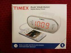 Timex T2312W AM/FM Mirror Dual Alarm Clock Radio w/Digital Tuning. open box.