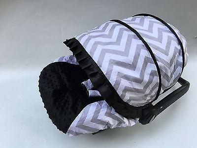 baby boy car seat cover canopy cotton set fit most seat white grey chevron print