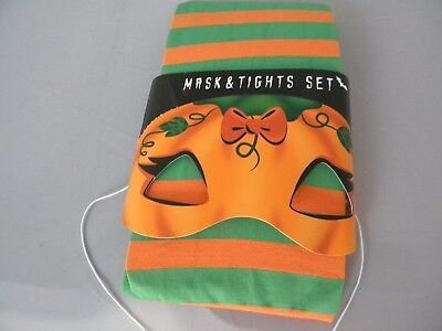Halloween Mask and ORANGE GREEN STRIPED TIghts Size Small - Orange And Green Tights