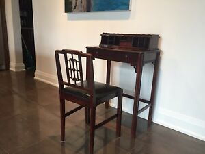 Antique writing desk, vintage decanters and candle holders