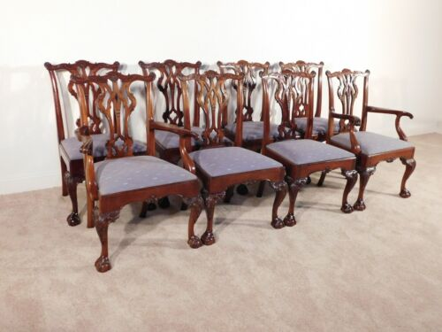 SET of 8 KINDEL WINTERTHUR  Chippendale Mahogany Ball & Claw Dining Chairs