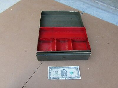 Vintage Metal Cash Box W Drawer Green Red