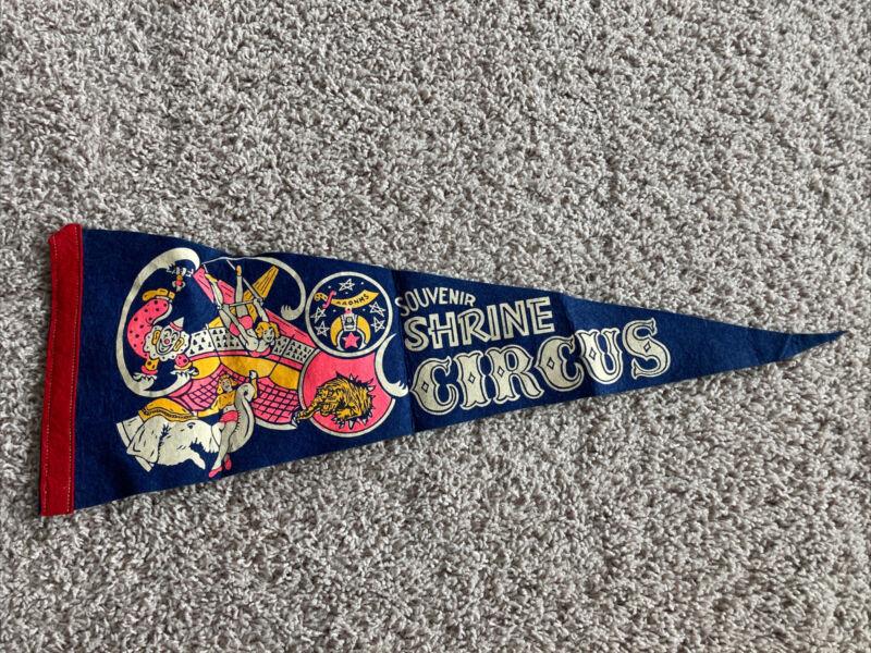 "Vintage Felt Pennant Souvenir Shrine Circus 24"" Pennant Flag"