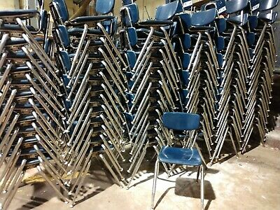 Lot Of 82 Quality Virco Blue Chairs 16 Seat Height School Stacking Chairs
