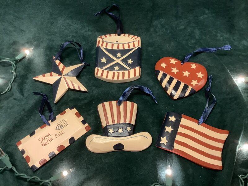 Patriotic Wooden Ornaments - Set of 32