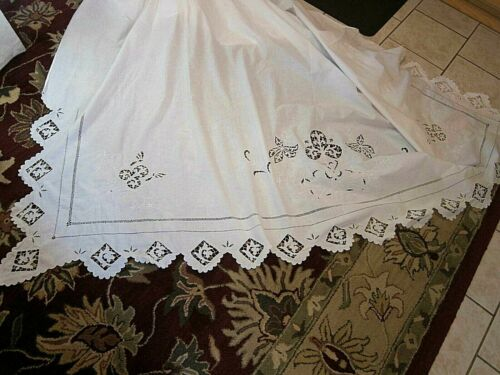 Antique VTG  Italian Trousseau White Linen Queen Sheet & 2 pillowcases~Cutwork