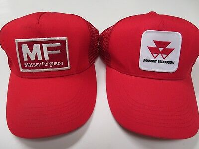 Massey Ferguson Hat Cap Snapback Mesh Back Patch Logo Trucker Red Lot of 2