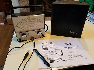 Vintage Simpson Vacuum Tube Voltmeter Vtvm 312 With Caseprobes. Working.