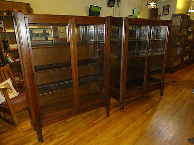 Used, Pair (2) Matching Antique Mission Oak China Cabinets Arts & Crafts Era 1910's for sale  Columbus