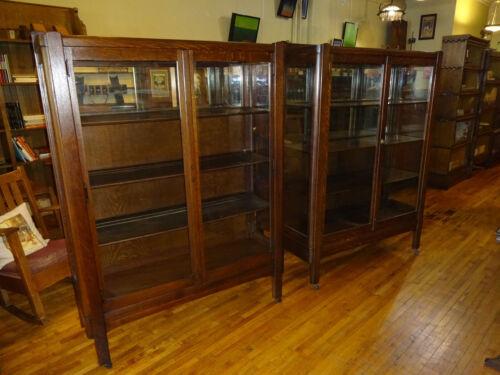 Pair (2) Matching Antique Mission Oak China Cabinets Arts & Crafts Era 1910