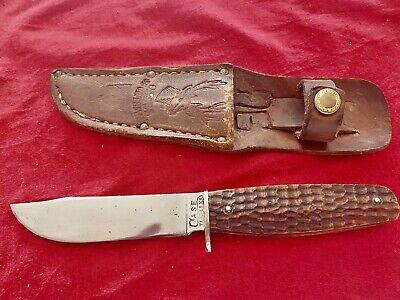 1932-1940 Case Green Bone Fixed Blade Knife With Original Leather Sheath Rare
