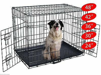 "Wire Folding Pet Crate Dog Cat Cage Suitcase Exercise Playpen 24""/30""/36""/42""/48"