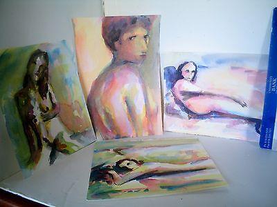 LP17 (J7) Interesting Vintage Watercolor Wash Ink Female Nude LOT of 4 Signed