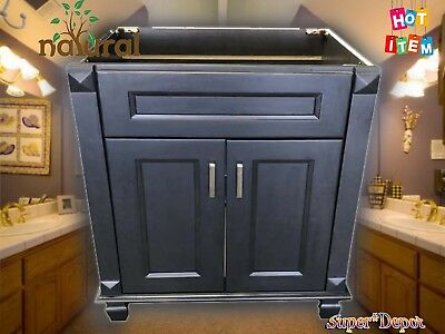 Metal Bathroom Cabinets (Carbon Metallic wood Single Bathroom Vanity Base Cabinet 24