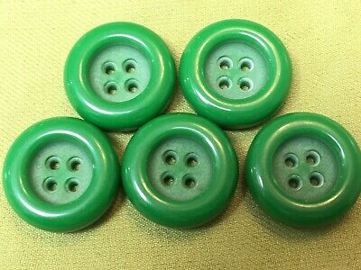 """5 Vintage plastic buttons lot green round chunky buttons 1 1/8"""""""