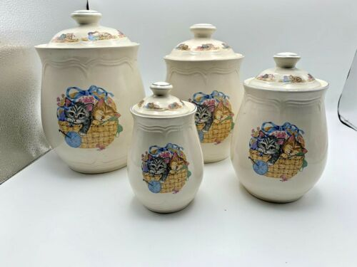 TIENSHAN PURRFECT FRIENDS KITTEN CAT SET OF 4 CANNISTER SET W/ LIDS  STONEWARE