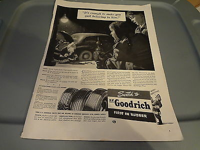 "1941 B.F. Goodrich Tires Vintage Magazine Ad ""It's enough to make you quit..."""