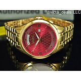 Invicta Men's 40mm Vintage Burgundy Dial 18K Gold Plated Stainless Steel Watch