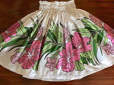 "White Hula Skirt (NEW WHITE PINK HIBISCUS HAWAIIAN PAU PA'U  HULA SKIRT  28"" LONG MADE IN)"