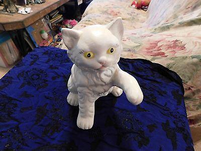 White ceramic Kitty Cat statue figure