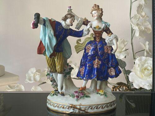 """Antique German Dresden Porcelain Figurine """"A Couple""""."""