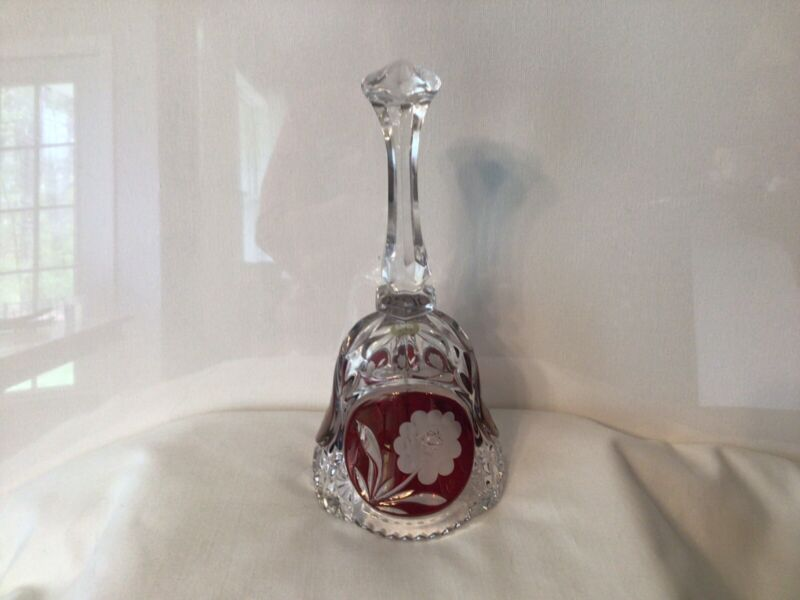VINTAGE LEAD CRYSTAL BELL with ETCHED ROSE IN 3 RUBY RED AREAS  #21248