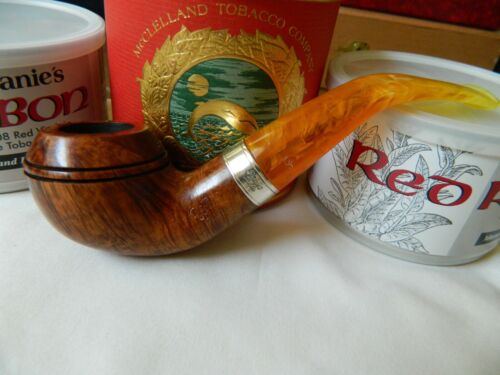 PETERSON FLAME GRAIN 999,STERLING BAND FISH TAIL STEM