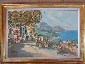 Oil painting on canvas by Carlo Ciappa, Italy (XIX-XX) Coastal Scene Capri - <span itemprop='availableAtOrFrom'>Glogów, Polska</span> - Oil painting on canvas by Carlo Ciappa, Italy (XIX-XX) Coastal Scene Capri - Glogów, Polska
