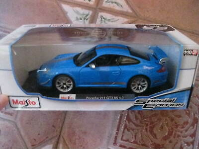 MAISTO 1:18 PORSCHE 911 GT3 RS 4.0 MODEL IN BLUE SPECIAL EDITION FREE UK POSTAGE