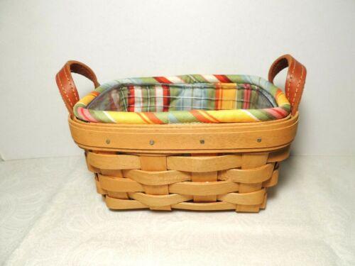 Longaberger Tea Basket Combo with Sunflower Stripe Liner and Hard Protector EUC
