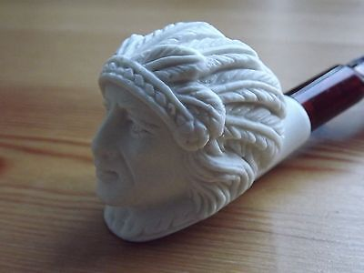 Turkish Mini Meerschaum Hand Carved Tobacco Pipe Indian - Native American Chief
