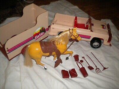 Vtg 1973 Mattel Western Barbie Jeep & Travelin' Trailer Horse Set & Accessories
