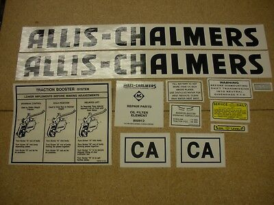 Allis Chalmers Model Ca Tractor Decal Set Black New Free Shipping