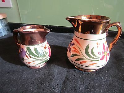 2 Vintage Wade Porcelain HarvestWare Floral Copper Lustre Jugs - Made in England