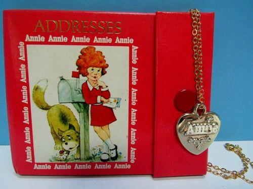 "VTG. 2-LOT ANNIE ADDRESS BOOK & GOLD TONE HEART PENDANT W 18"" GOLD TONE CHAIN"