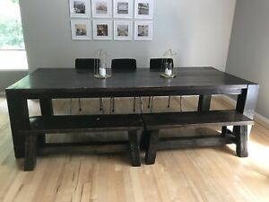 Solid 9 ft table and benches