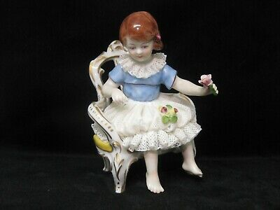 Vintage Hungarian Hollohaza porcelain girl figurine,playing girls,twirling children,sisters,twins,stamped,handpainted
