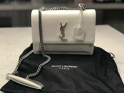 (YSL)Yves Saint Laurent - Medium Sunset White handbag on Silver Chain GENUINE*