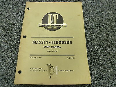 Massey Ferguson 1150 Farm Utility Tractor Shop Service Repair Manual Book Mf30