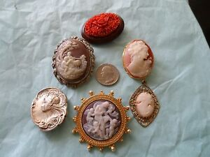 Nice Lot of 6 Vintage Cameos Shell Celluloid Nouveau Deco Smithsonian- Nice!