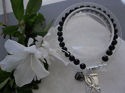 Melanoma Cancer Awareness Beaded Hope Bracelet W Ribbon Charm Heart