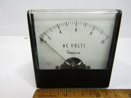 "Simpson 10VAC  Panel Meter Analog  2 1/4"""