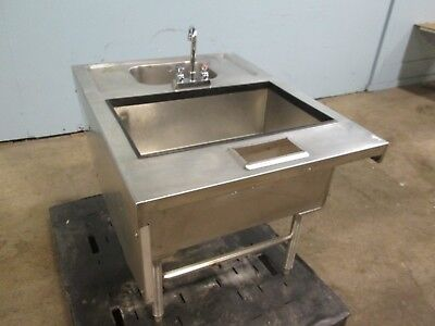 H.d. Commercial Bar Ss Service Station Winsulated Ice Bin Wash Sink Wfaucet