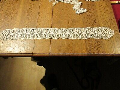 ANTIQUE LACE TRIM SECTION  1800'S  HANDMADE  800 mm x 95 mm