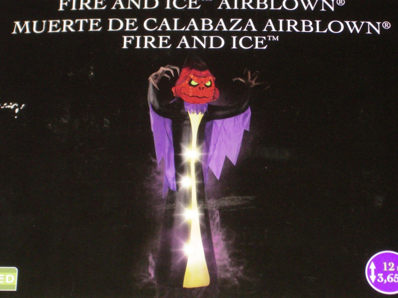 Gemmy 12' Lighted Haunted Fire & Ice Reaper Halloween Airblown Inflatable