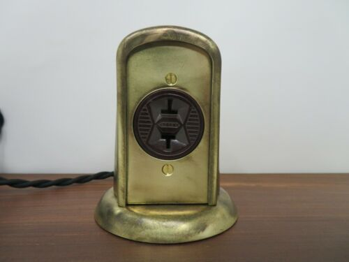 Vintage Electrical Outlet Brass Deco Tombstone Style Re-Wired