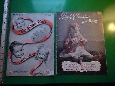JB519 Vintage LOT of 2 1940's Baby Clothes Sewing Pattern Books