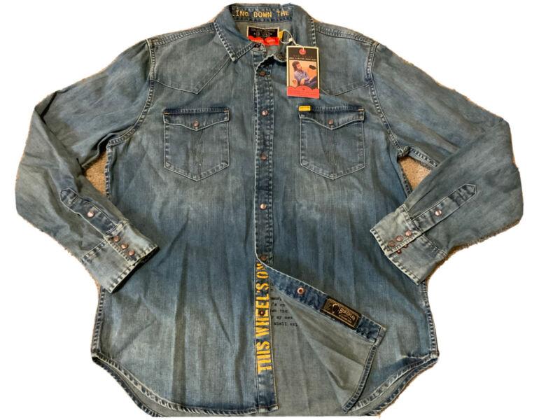 New Barking Irons Bob Dylan Collection Wheel's On Fire Denim Shirt Men