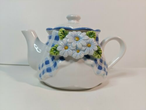 Bella Casa by Ganz Ceramic Teapot Embossed Daisy Flowers Checked Cloth With Lid
