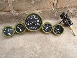 Willys-MB-Jeep-Ford-GPW-Gauges-Kit-Speedometer-Temp-Oil-Fuel-Ampere-OLIVE